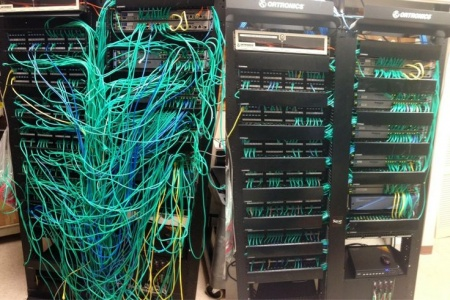 Network Cabling server room before and after